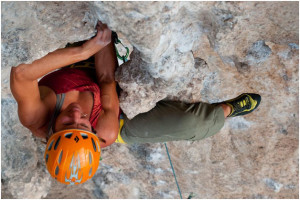 Dawn Glanc enjoying sending and not worrying about her belayer.