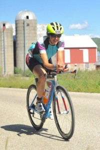 Anne enjoying the Wisconsin hills during her 100 miles on the bike.