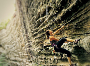 Elaina getting warmed up at Red River Gorge