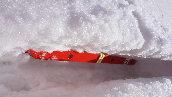 to build a solid t-slot snow anchor, the sling slot or swath should be the same depth as the horizontal or picket swath