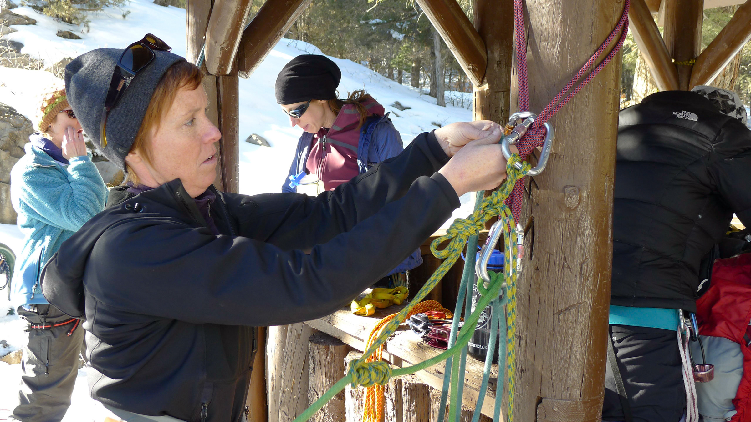 4-day ice climbing clinic participant practicing rescue skills on skills day