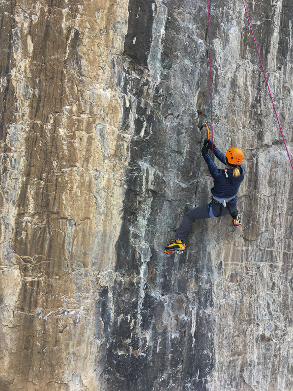 mixed climbing at Skylight, Camp Bird Road, Ouray, Colorado