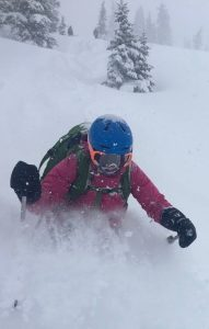 Skiing deep powder snow in the backcountry. ©AveryStonich