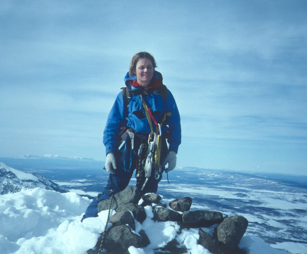Kitty Calhoun at 14, 158 feet on the Summit of Mt Sneffles, Co, 1982, wearing her homemade anorak and wool gloves.