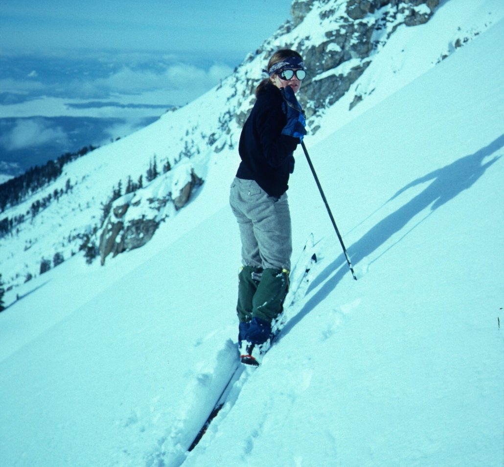 Kitty Calhoun skiing the East Face of Teewinot , Grand Teton National Park, 1982, in her fashion backwards Army Surplus wool knickers and sweater.