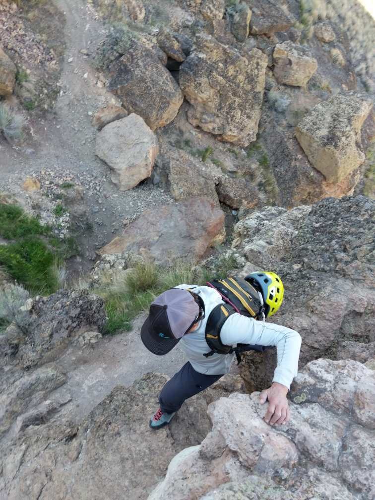 Angela Hawse dances up the approach trail in her Scarpa Geckos