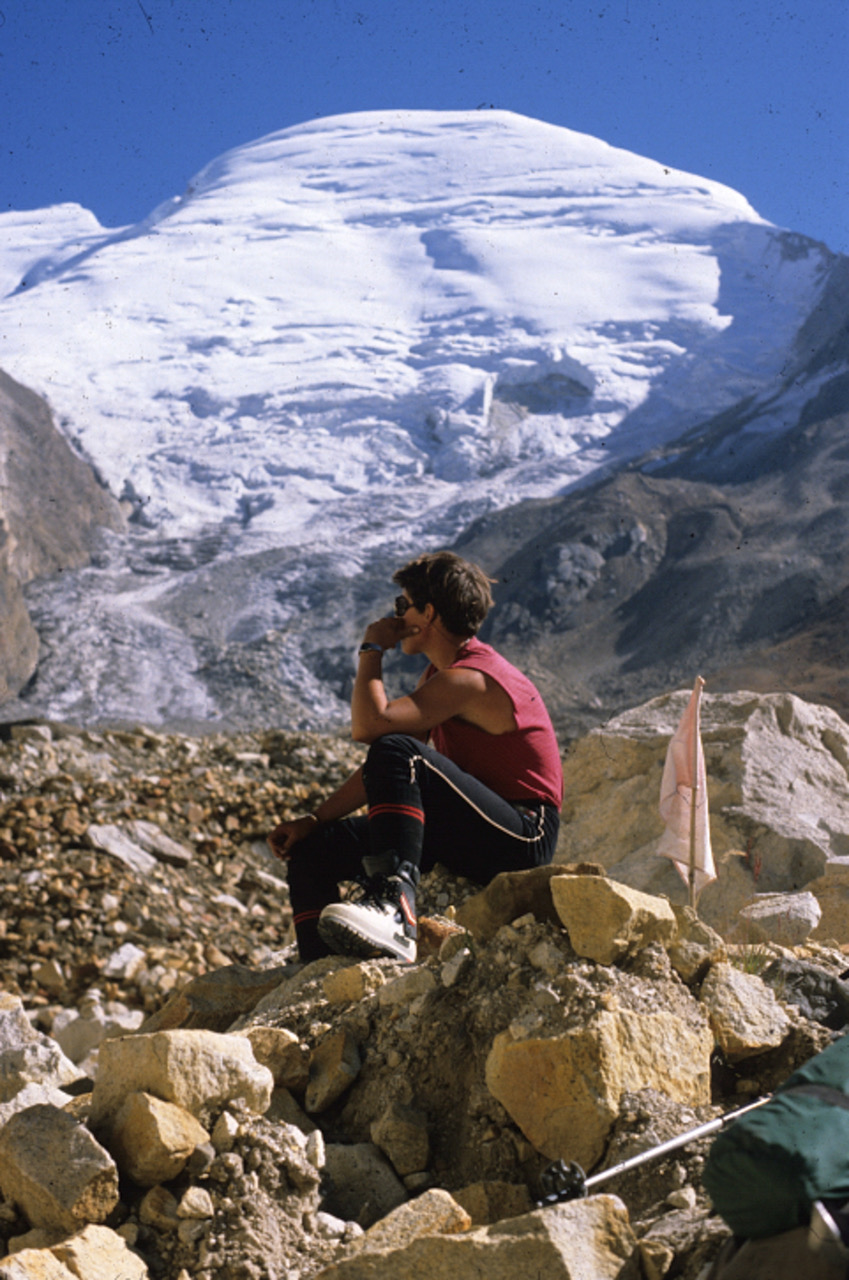 Angela Hawse on one of her first big mountaineering trips contemplates Kedarnath Dome, Garwhal Himalaya, India in 1988