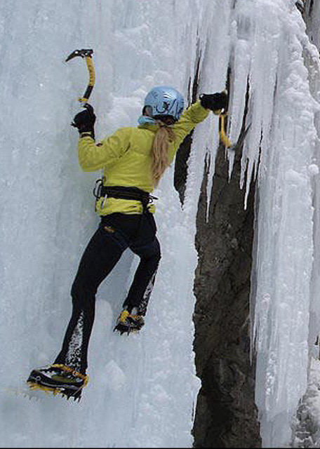 How to swing a tool? Carolyn Parker, founder Ripple Effect Training, teaching ice climbing in the Ouray Ice Park. ©Carolyn Parker collection