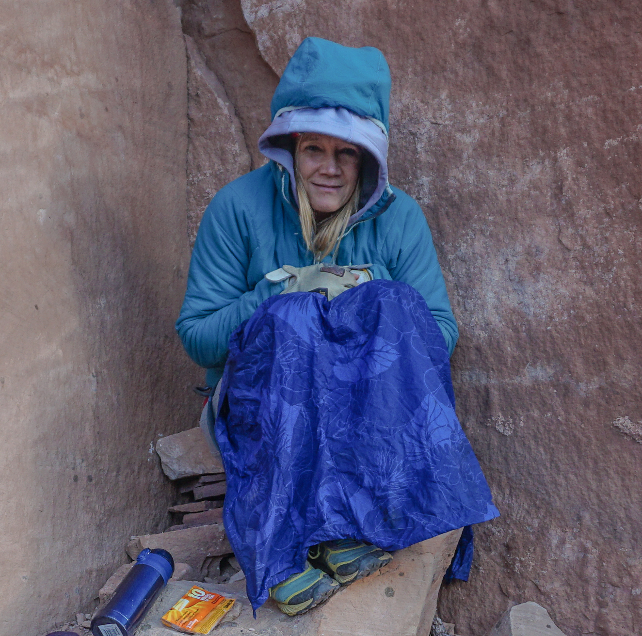 Kitty Calhoun, co-owner Chicks Climbing and Skiing layered up to stay toasty. Indian Creek, UT. ©Kitty Calhoun