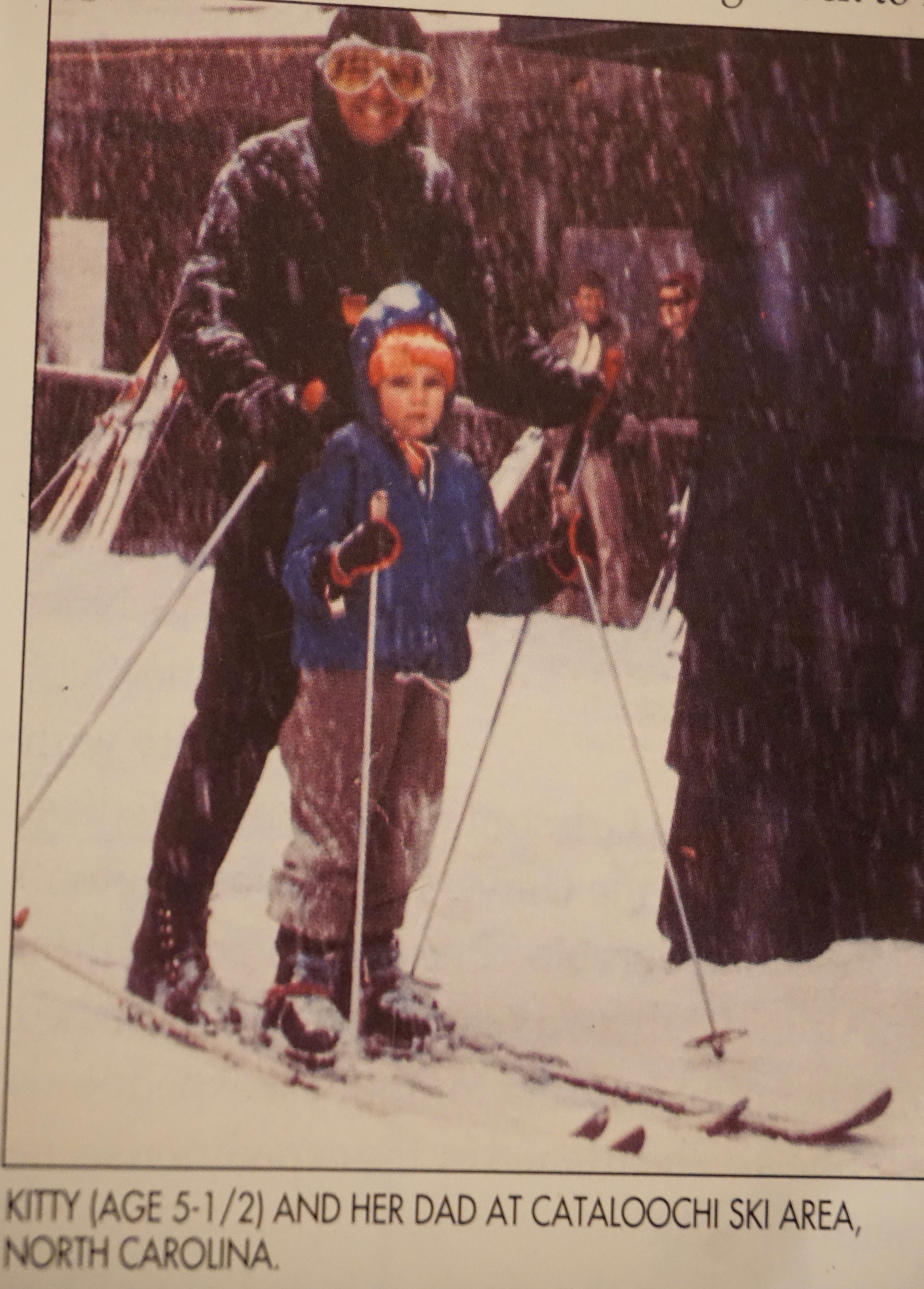 Newspaper clipping of Kitty Calhoun age 5-years skiing with her Dad at Cataloochi ski area, North Carolina