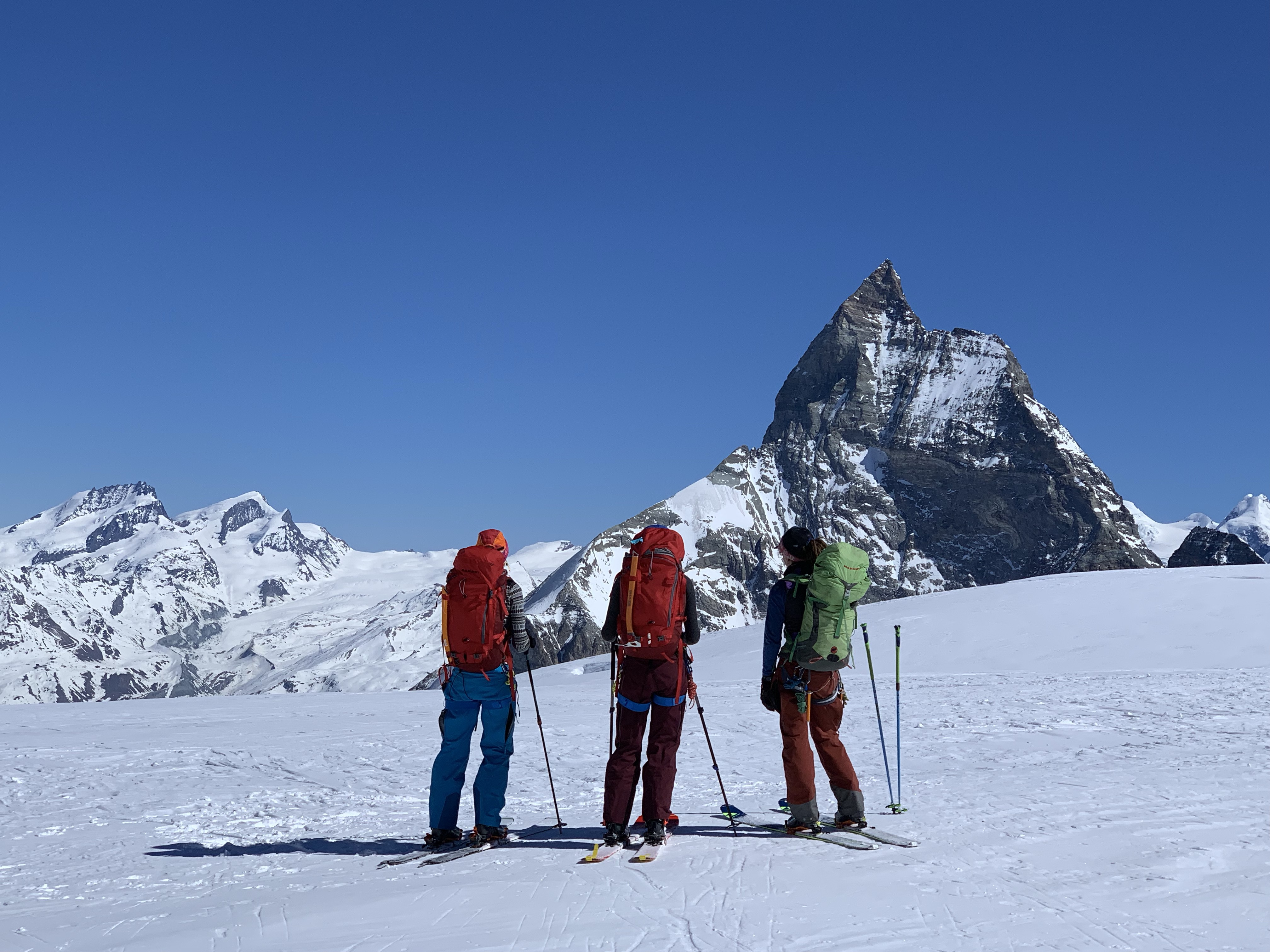 Where skiing meets climbing. A view of the Matterhorn from the Haute Route.