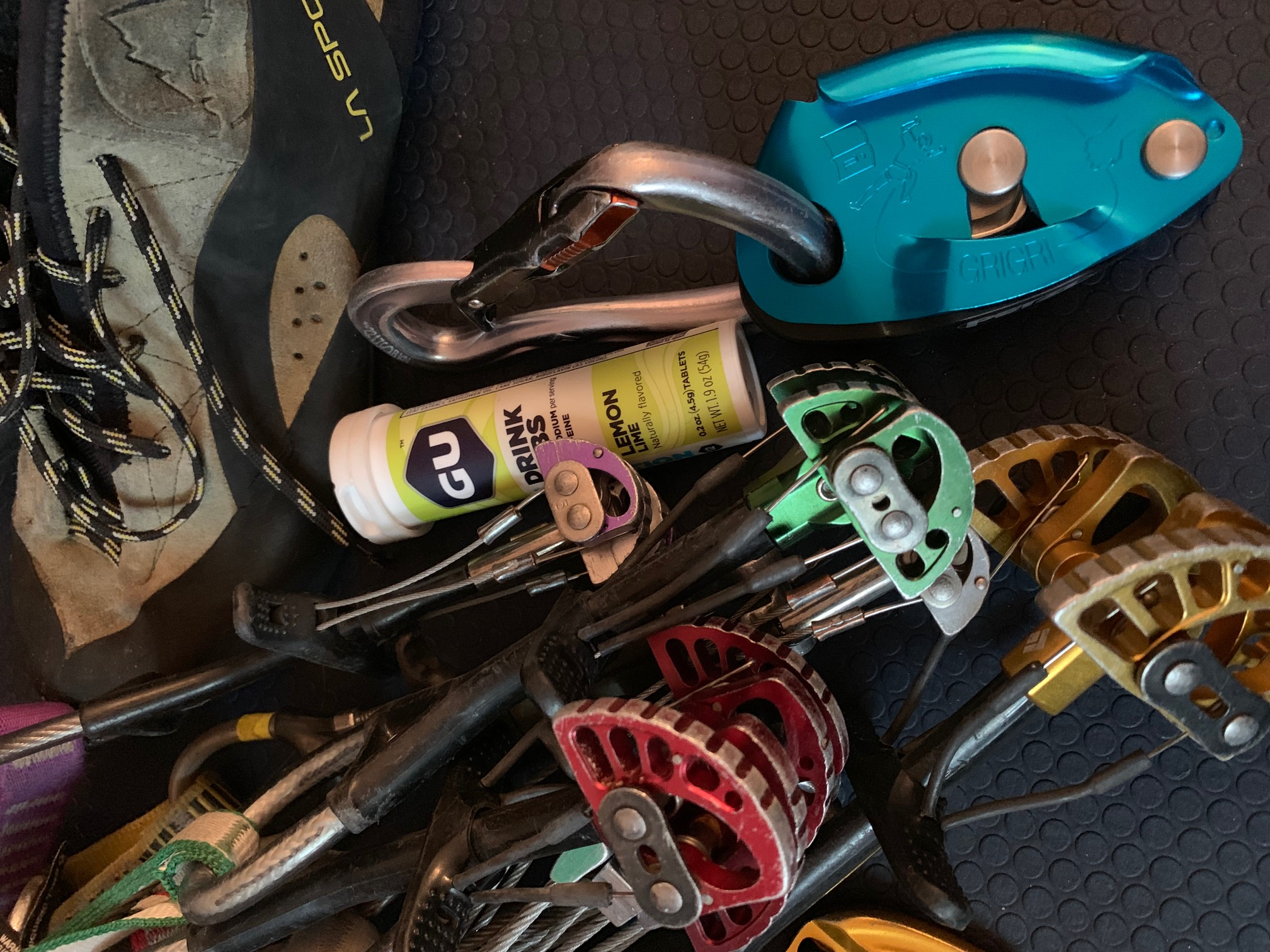 GU Hydration Drink Tabs in amongst Karen Bockel's climbing gear