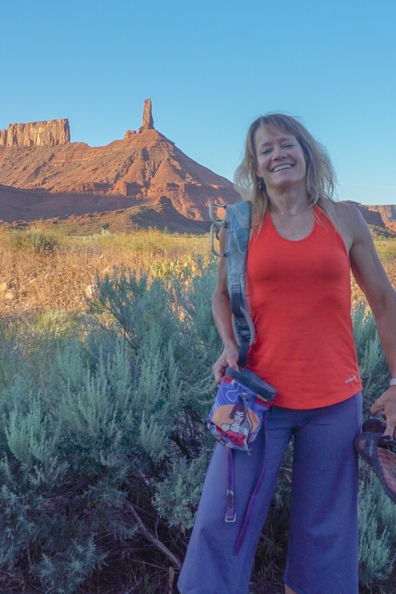 Kitty Calhoun, Co-Owner Chicks Climbing and Skiing, in her favorite summer climbing top: Patagonia Fleur tank top.©Kitty Calhoun Collection