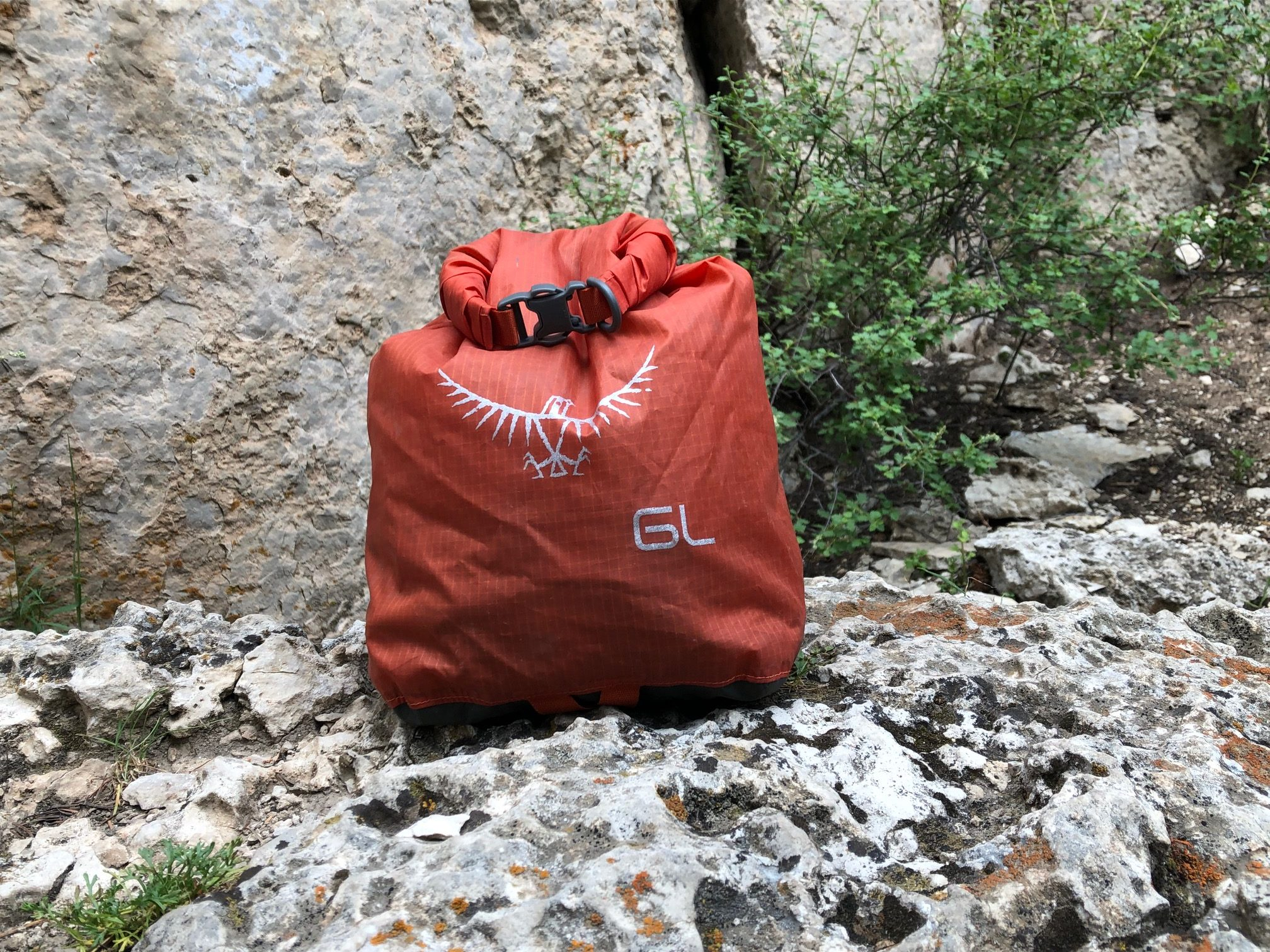 Osprey Ultralight Dry Sack in use at the crag