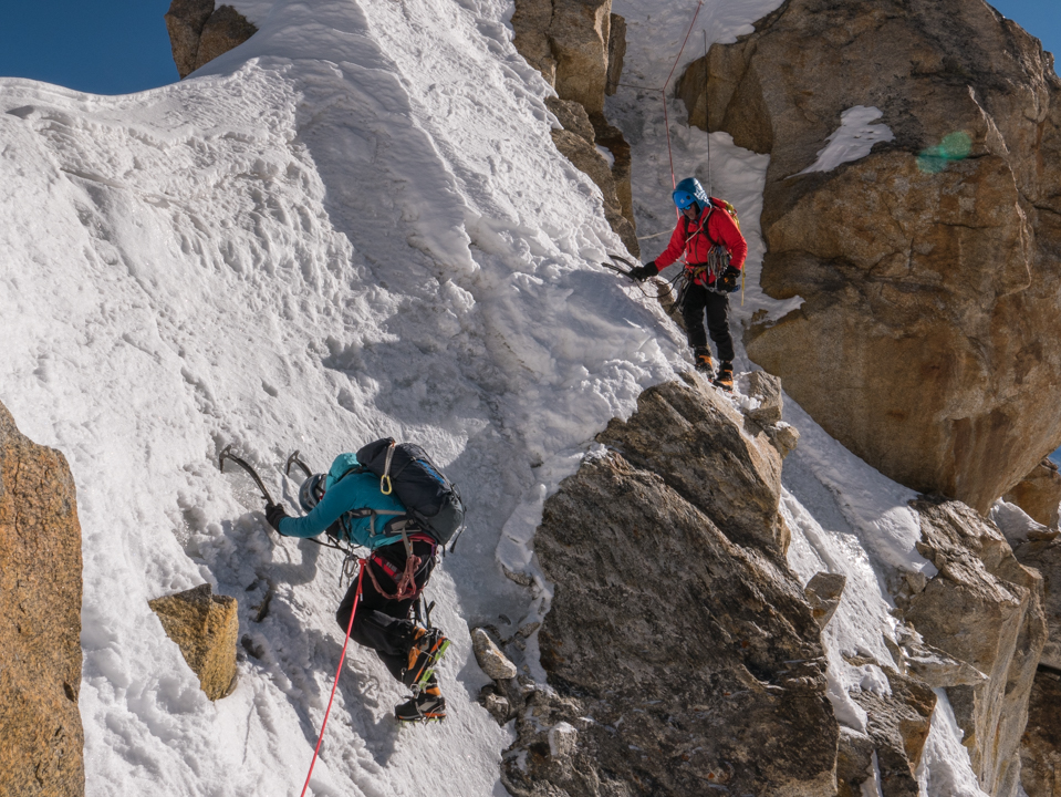 Kitty Calhoun and Rennie Jackson climbing in black diamond snaggletooth crampons in Zanskar, India