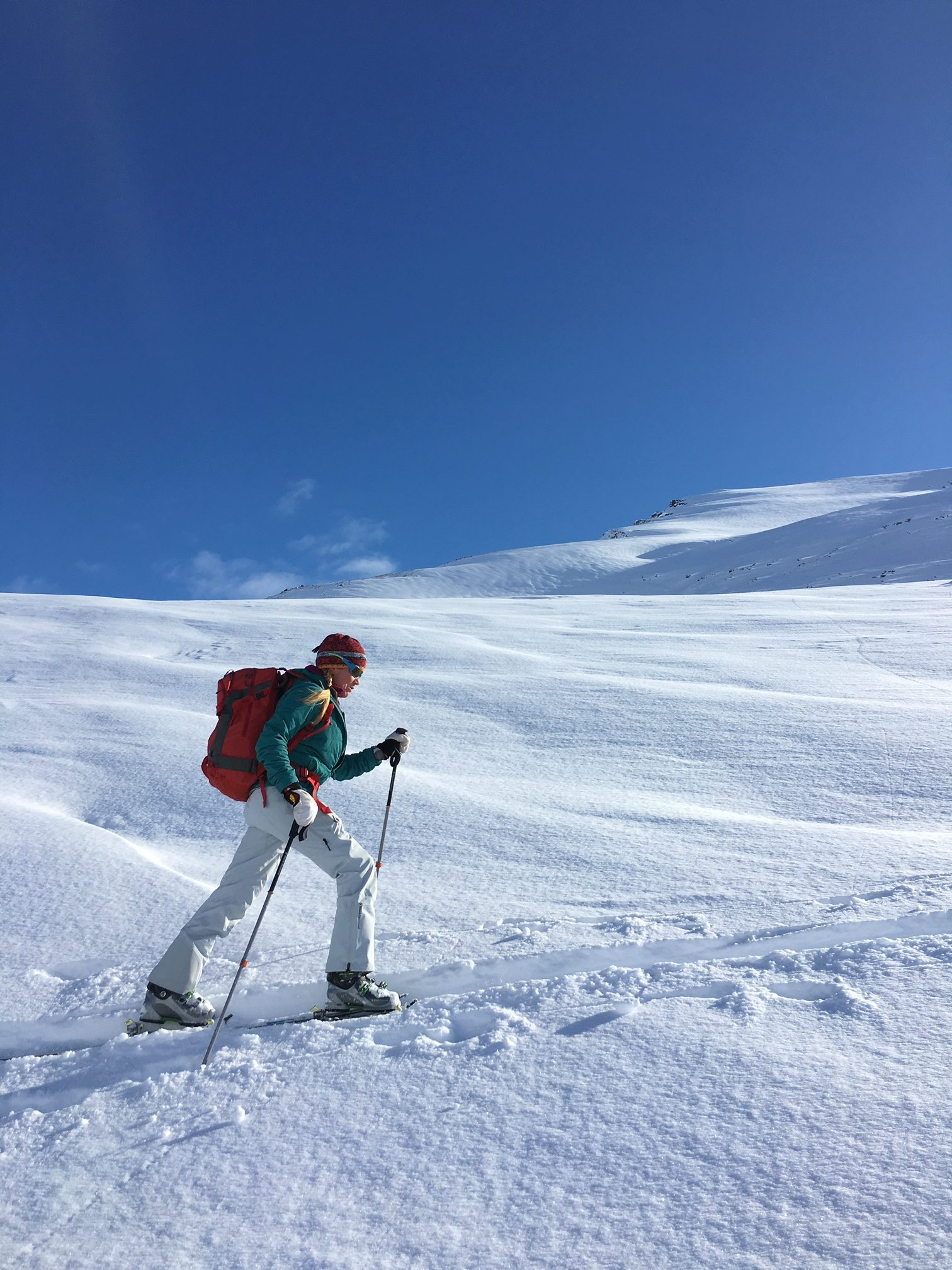 Carolyn Parker skiing uphill in Iceland
