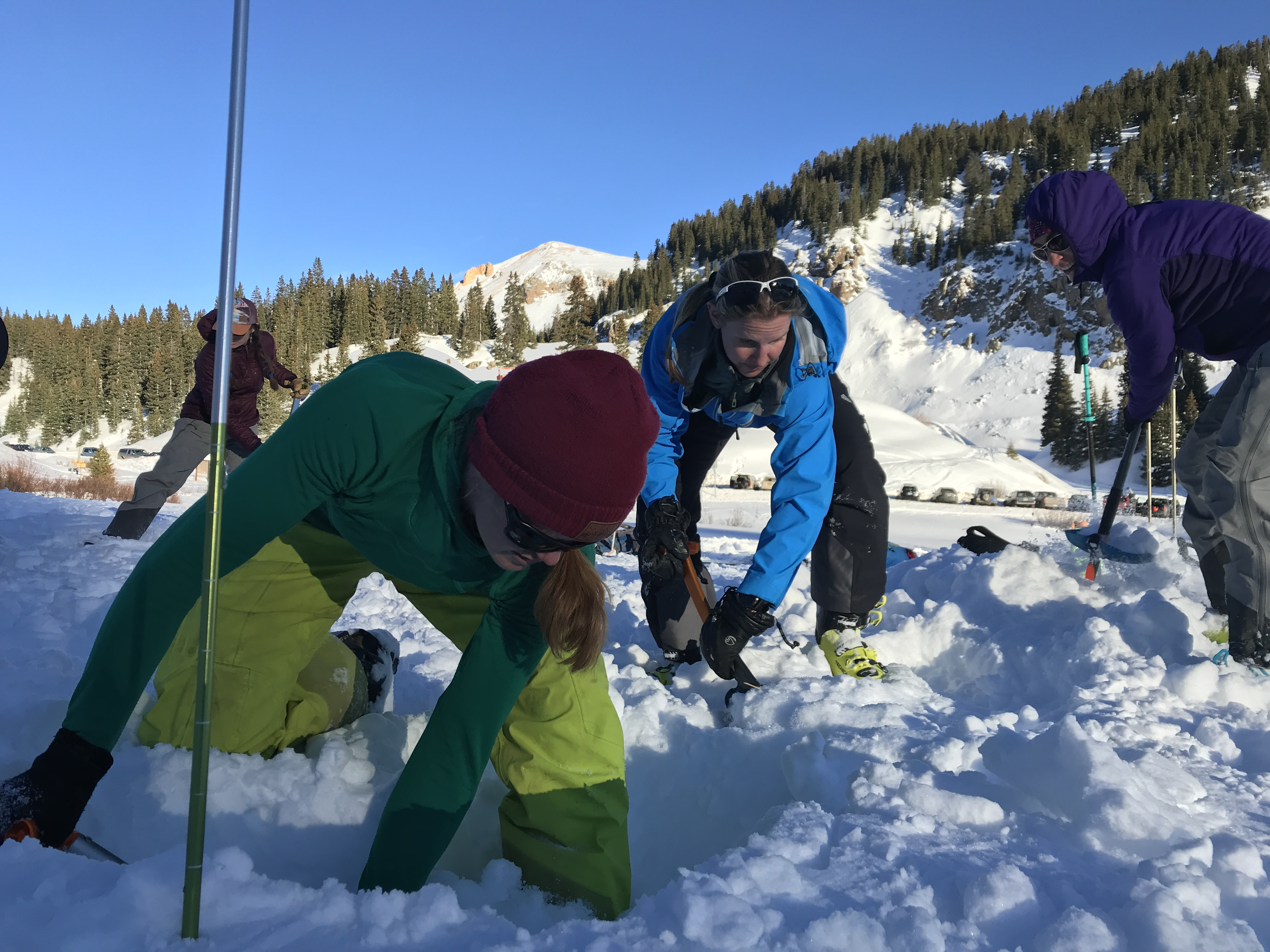 Chicks practice digging at an avalanche rescue course