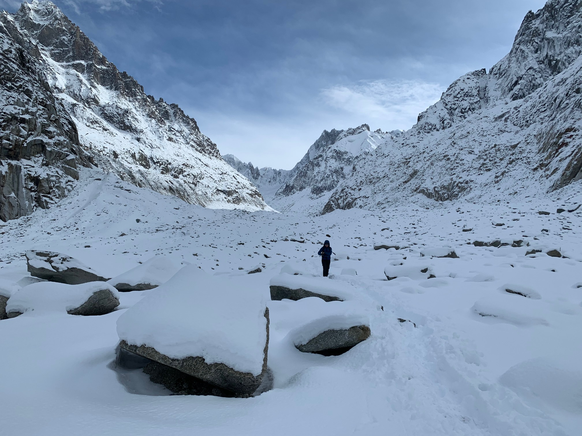 Early season on the Mer de Glace with Grabber Toe Warmers in our boots. Chamonix, France. ©Karen Bockel.