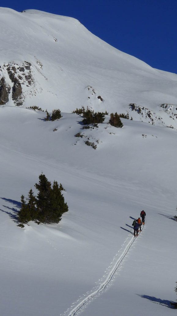 backcountry skiers make a skin track used to emphasis avalanche skills checklist