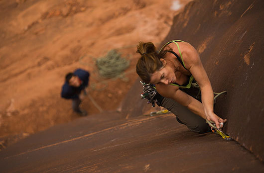 Aimee Barnes climbing in Indian Creek