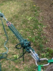 tied off block and tackle