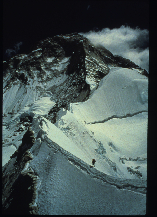 Kitty Calhoun, expedition leader, on the first female ascent of Makalu, the world's fifth highest mountain. 1990. Nepal Himalaya. ©Kitty Calhoun Collection.